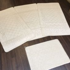 ROMANY GYPSY WASHABLES SET OF 4 TOURER SIZE 67X120CM MATS/RUGS CREAM/CREAM